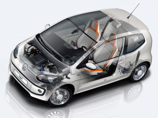 конструктивная схема размещения основных узлов и агрегатов Volkswagen up!