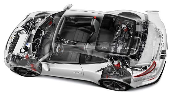 размещение основных узлов и агрегатов Porsche 911 GT3