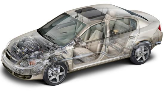 конструктивная схема седана Cobalt 1-го поколения