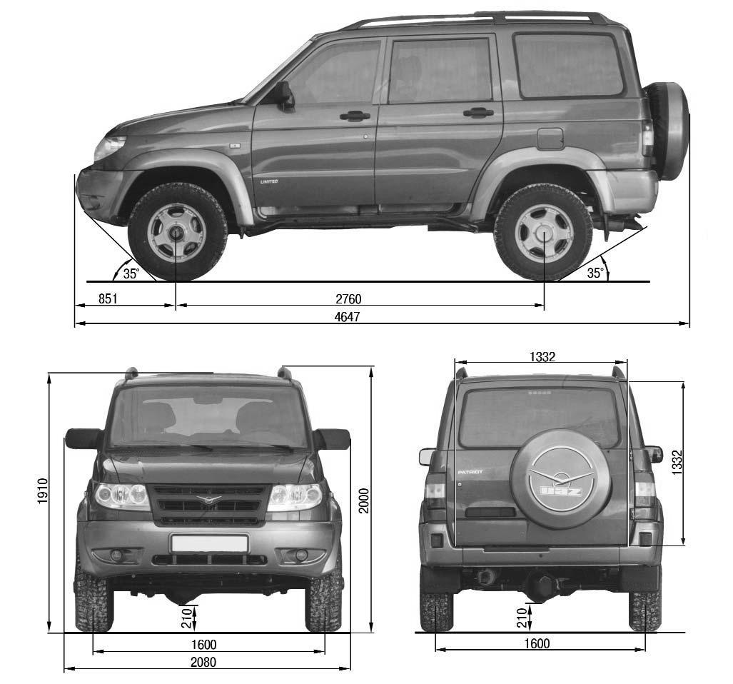 Габаритные размеры основных типов грузовых автомобилей