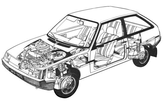 размещение основных узлов и агрегатов ЗАЗ-1102 Таврия