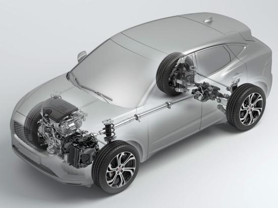 размещение основных узлов и агрегатов Jaguar E-Pace
